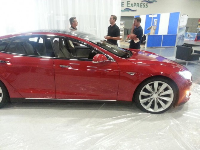 Tesla at the Property Solutions Booth